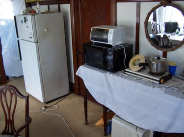 fridge microwave and hotplate in e. boston living room