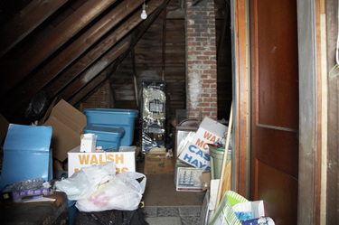 East Boston attic filled with stuff